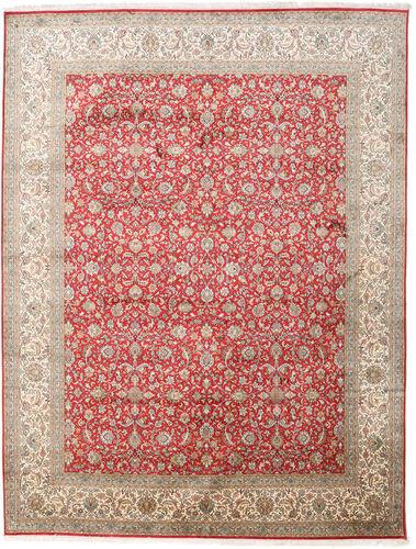 annodato a mano. provenienza: india 245x320 tappeto cachemire puri di seta orientale fatto a mano grigio chiaro/marrone chiaro (seta, india)