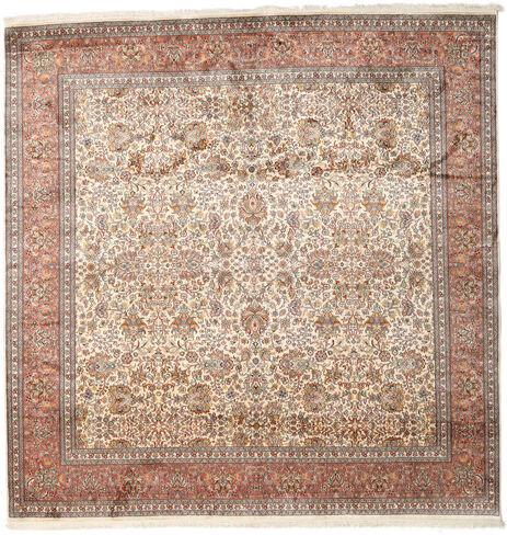 annodato a mano. provenienza: india tappeto cachemire puri di seta 247x253 quadrato marrone/grigio chiaro (seta, india)