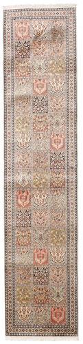 annodato a mano. provenienza: india tappeto cachemire puri di seta 79x353 alfombra pasillo grigio chiaro/beige (seta, india)