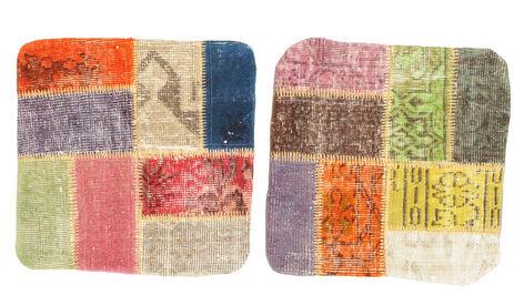 Annodato a mano. Provenienza: Turkey Tappeto Orientale Patchwork Fodera Per Cuscino 50X50 Quadrato Beige Scuro/Grigio Scuro (Lana, Turchia)
