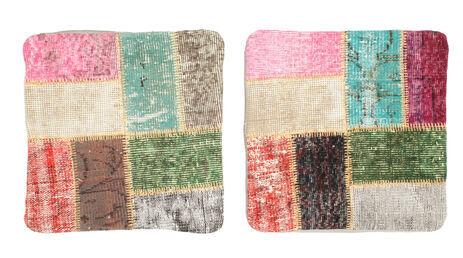 Annodato a mano. Provenienza: Turkey 50X50 Tappeto Patchwork Fodera Per Cuscino Orientale Fatto A Mano Quadrato Beige Scuro/Rosa Chiaro (Lana, Turchia)