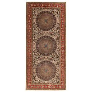 Annodato a mano. Provenienza: Persia / Iran Tappeto Fatto A Mano Tabriz 60 Raj Ordito In Seta 200X450 Alfombra Pasillo Marrone/Marrone Scuro (Lana/Seta, Persia/Iran)