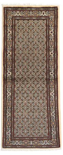 annodato a mano. provenienza: persia / iran 80x193 tappeto orientale moud alfombra pasillo marrone scuro/grigio chiaro/beige (lana/seta, persia/iran)