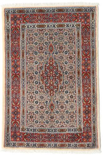 annodato a mano. provenienza: persia / iran tappeto persiano moud 80x119 marrone scuro/grigio chiaro/beige (lana/seta, persia/iran)