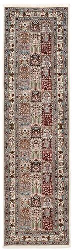 annodato a mano. provenienza: persia / iran tappeto persiano moud sherkat farsh 80x300 alfombra pasillo grigio chiaro/beige (lana/seta, persia/iran)