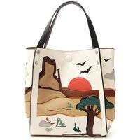 VULCANO Shopper in similpelle CREMA BEIGE