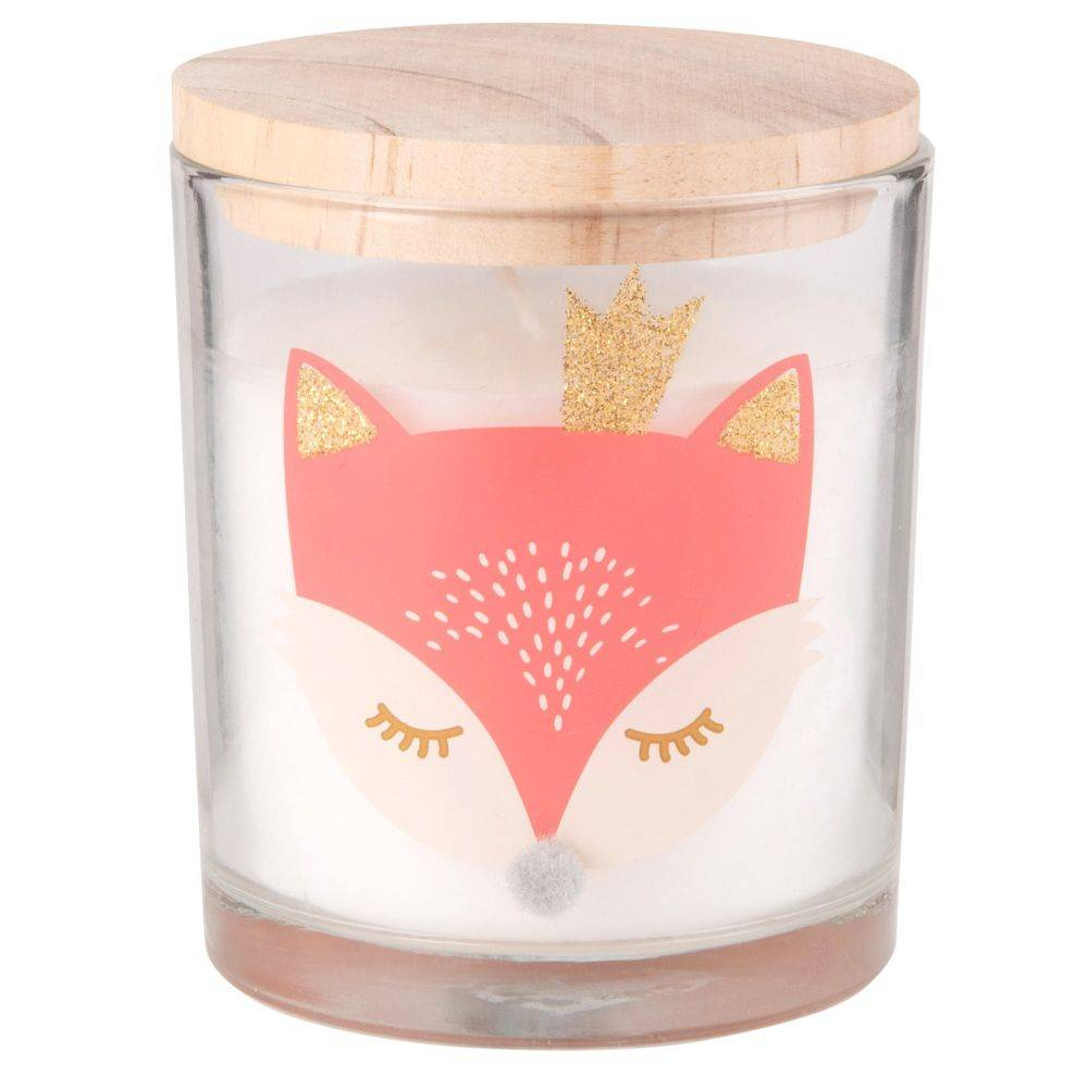 Maisons du Monde Candela di Natale con coperchio in vetro con stampa volpe