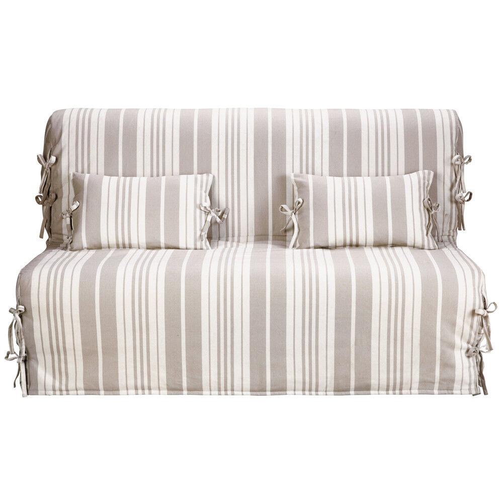 Maisons du Monde Copridivano-letto a righe beige/avorio in cotone Elliot