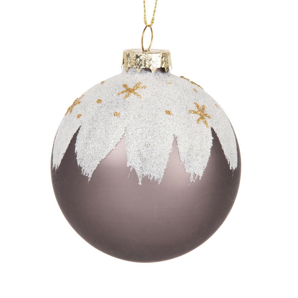 Maisons du Monde Pallina di Natale in vetro marrone effetto innevato