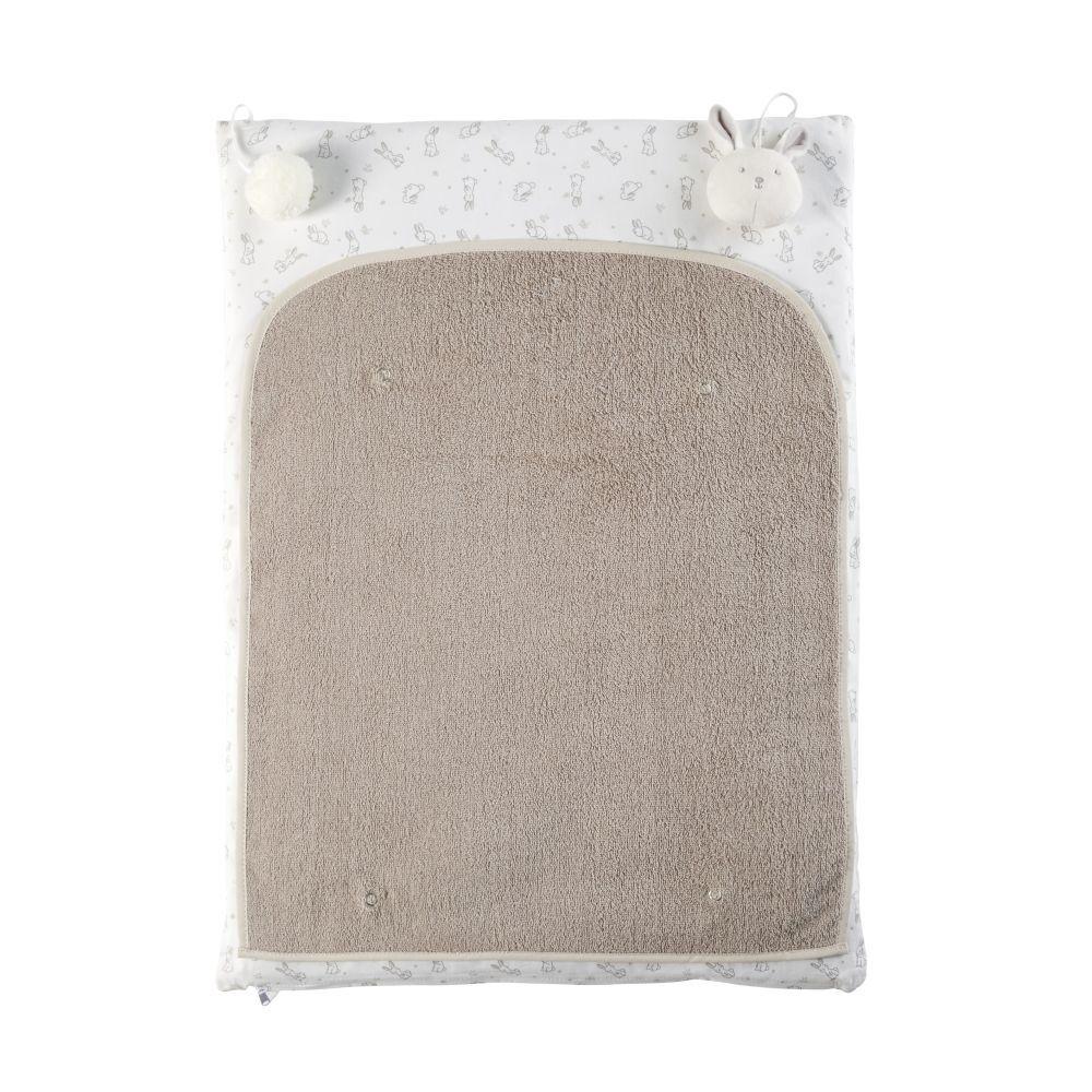 maisons du monde materassino per fasciatoio neonato in cotone écru, bianco e talpa