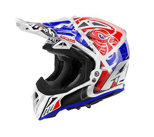 airoh casco moto cross  aviator 2018 six days red gloss av22sd855