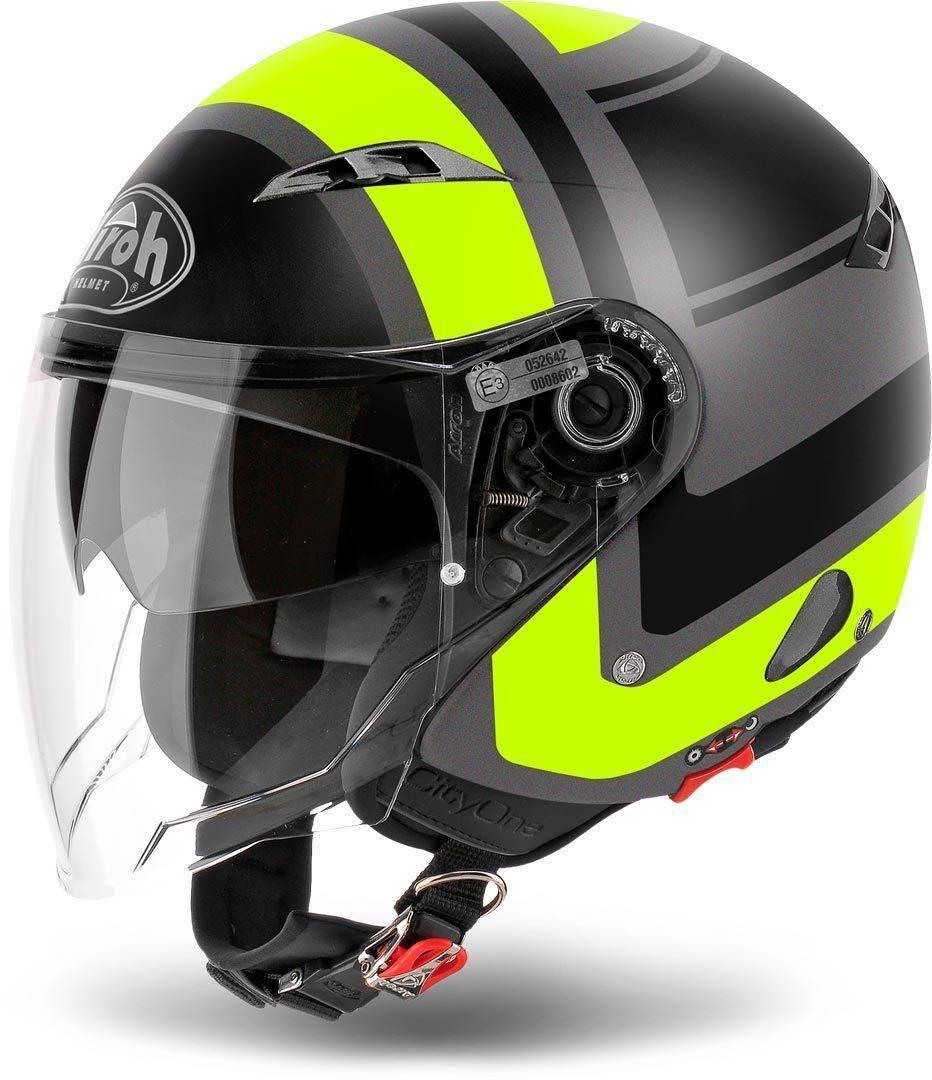 airoh casco moto  jet city one wrap yellow matt cowr31