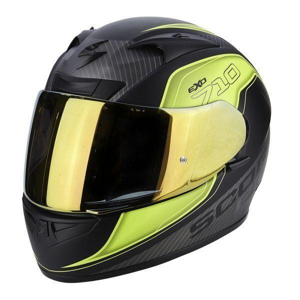 scorpion casco moto integrale  exo-710 air mugello matt black yellow silver