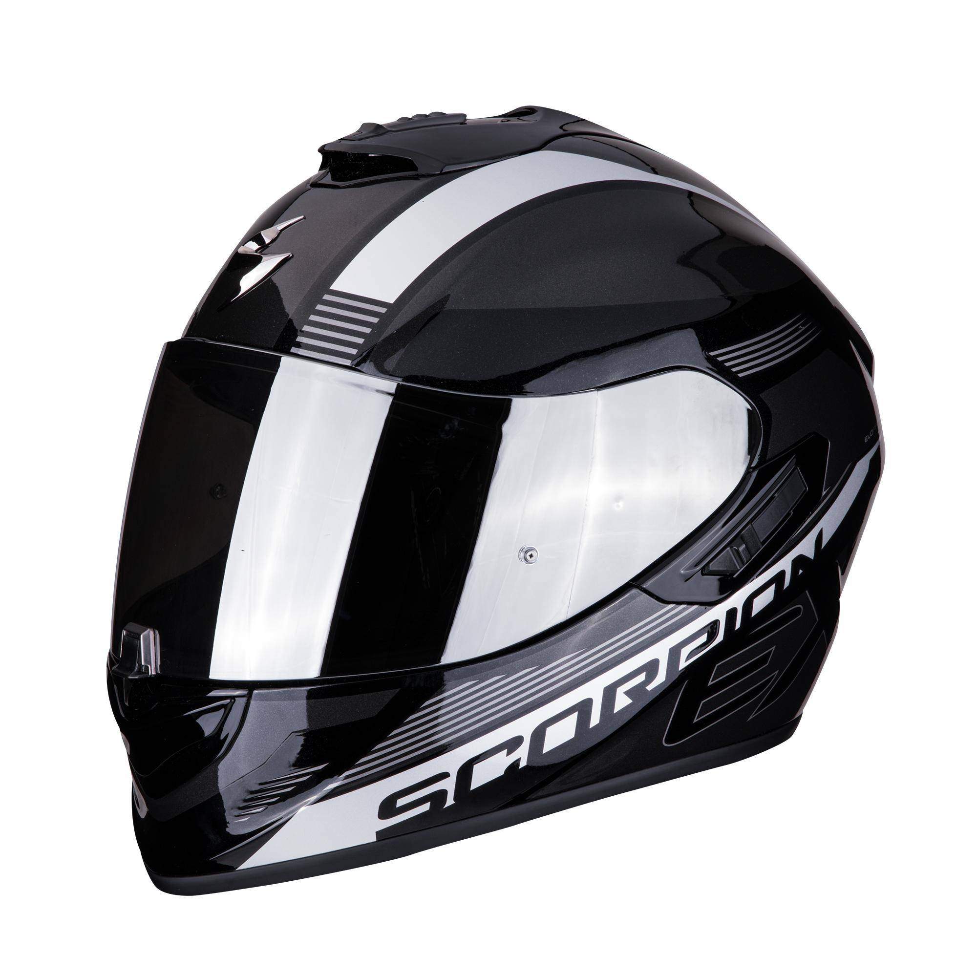 scorpion casco moto integrale  exo-1400 air free metal black silver