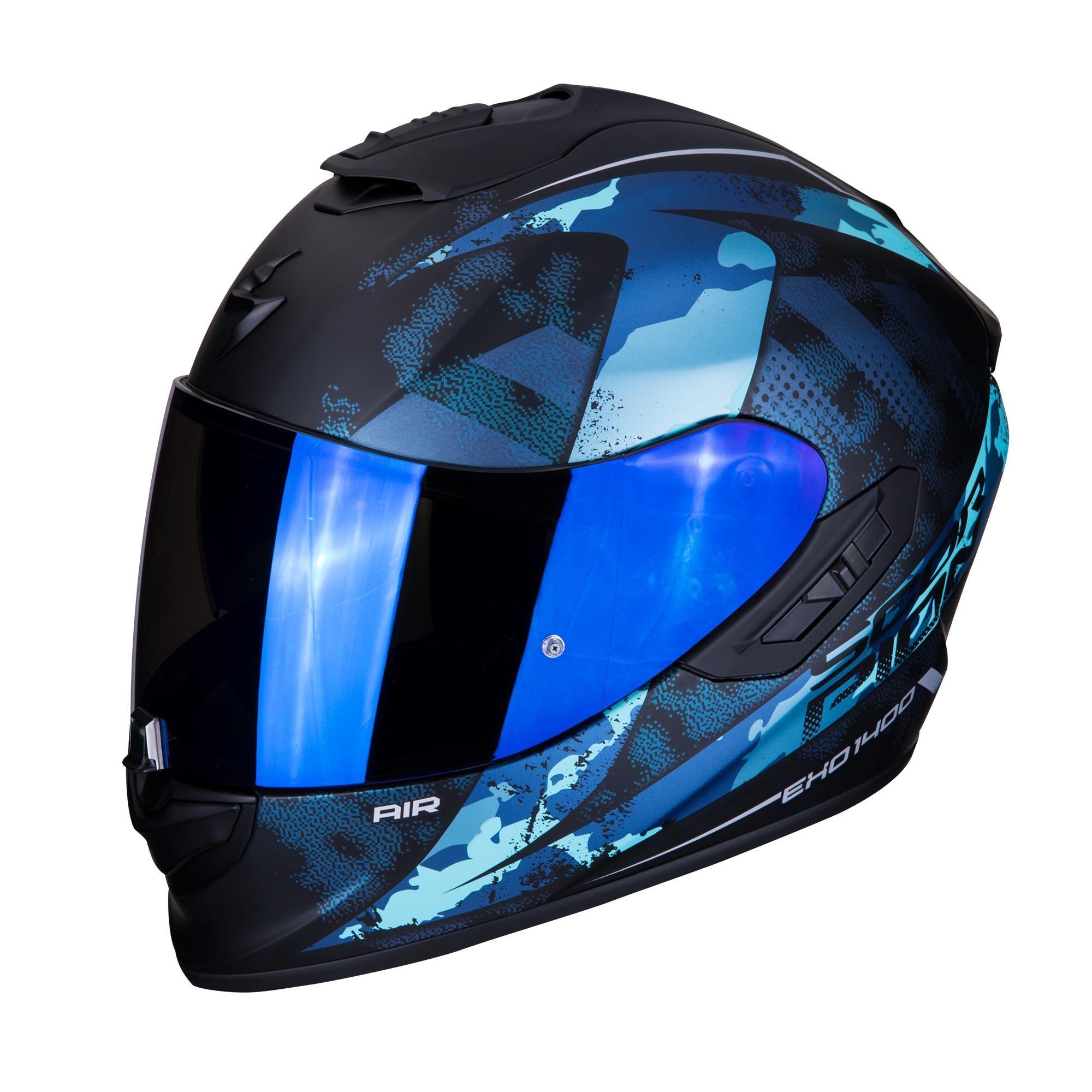 scorpion casco moto integrale  exo-1400 air sylex matt black blue