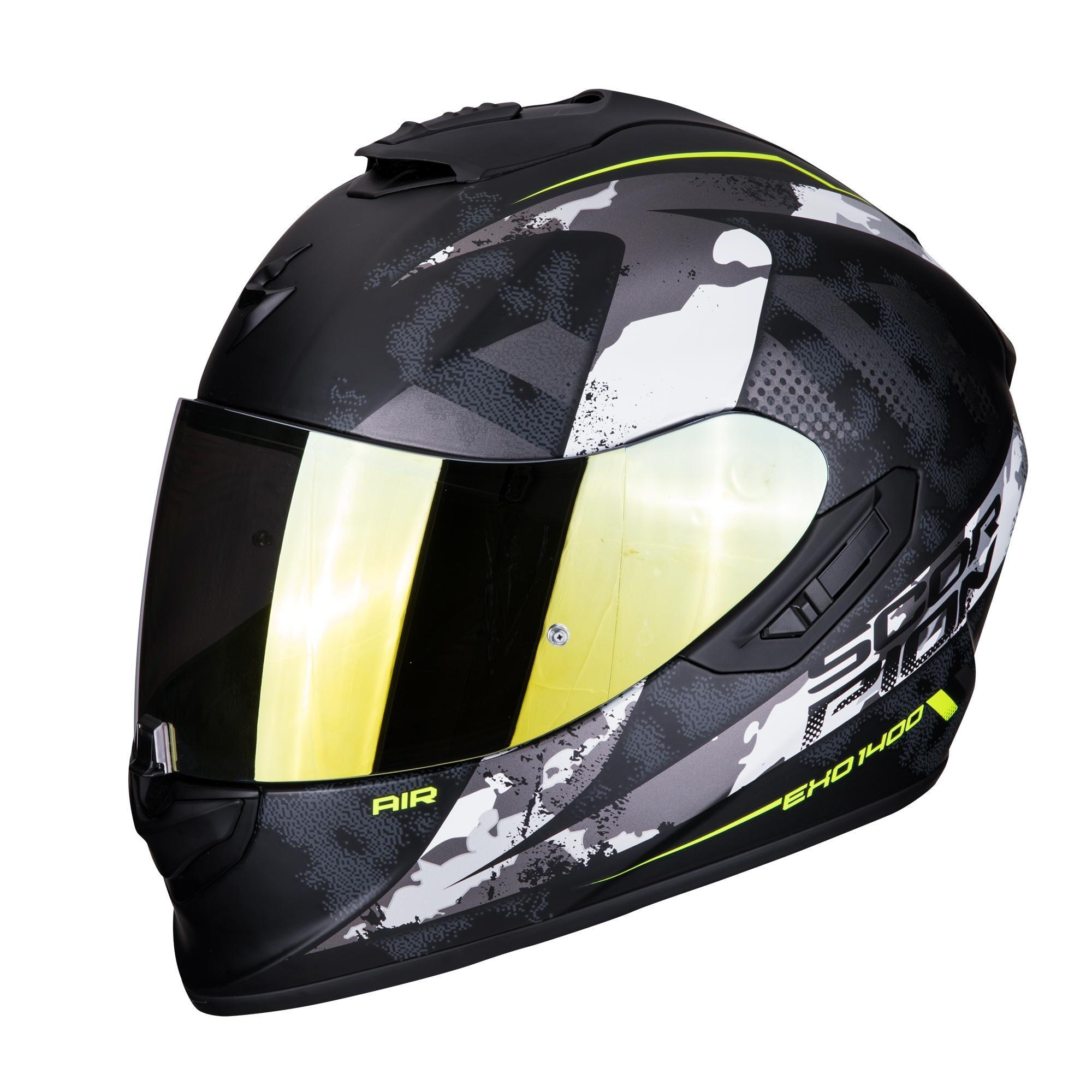 scorpion casco moto integrale  exo-1400 air sylex matt black silver