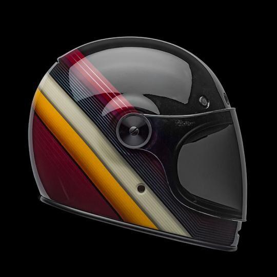 bell casco moto integrale  bullitt dlx burnout gloss black white maroon
