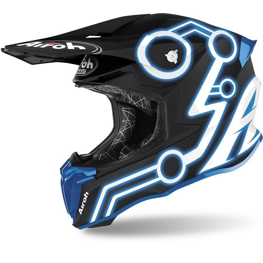 airoh casco moto cross  twist 2.0 2020 neon blue matt tw2n18