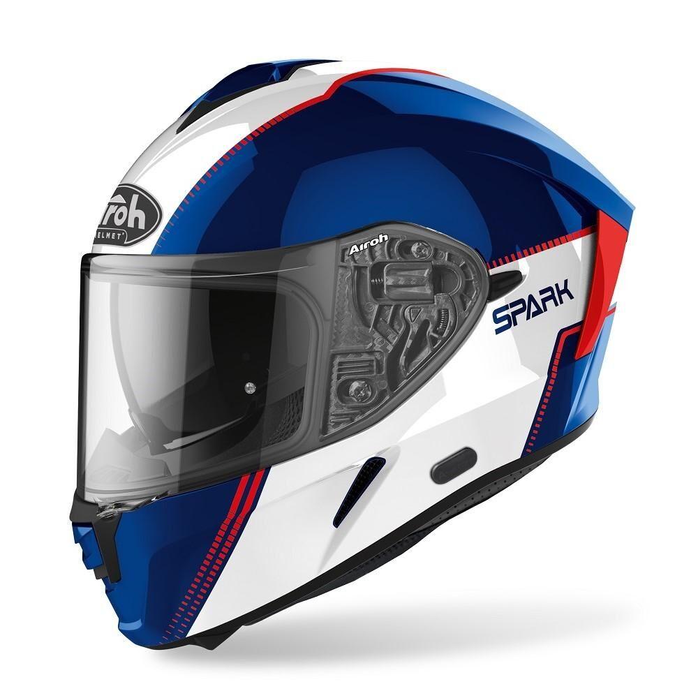 airoh casco integrale moto  spark flow blue/red gloss 2020 spf18