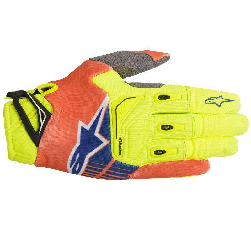 Alpinestars Guanti Moto Cross  2018 Techstar Yellow Fluo Orange Fluo Blue