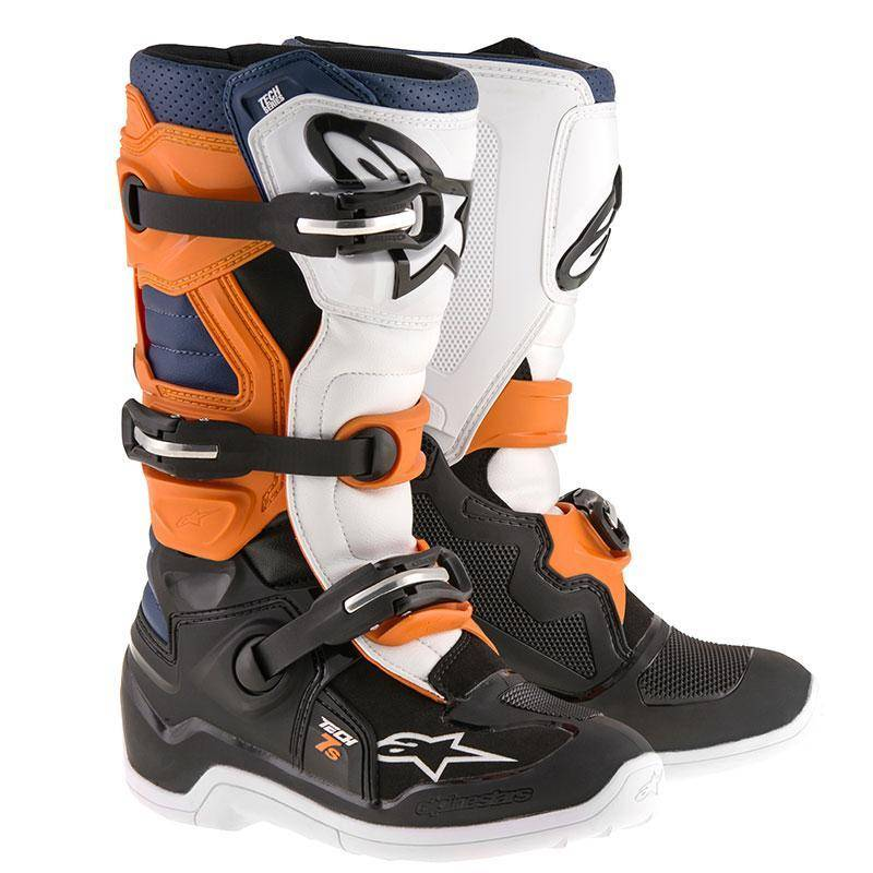 Alpinestars Stivali Moto Cross  Tech 7 Orange Black Orange White Blu
