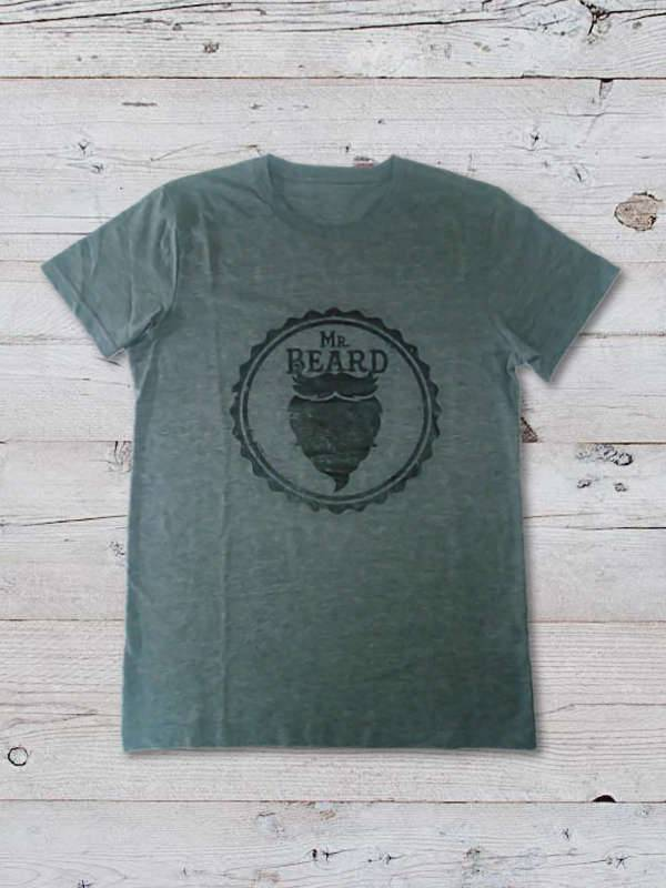 Solomon's Beard T-Shirt Uomo Mr Beard Grigia Scura