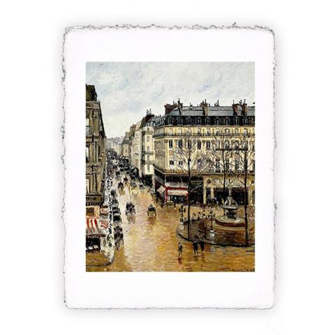 Pitteikon Stampa fine art in carta a mano. Camille Pissarro. Rue Saint Honoré, nel pomeriggio. Effetto pioggia. 1870