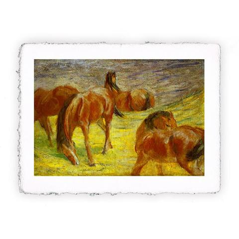 Pitteikon Stampa fine art in carta a mano. Franz Marc. Cavalli al pascolo I. 1910