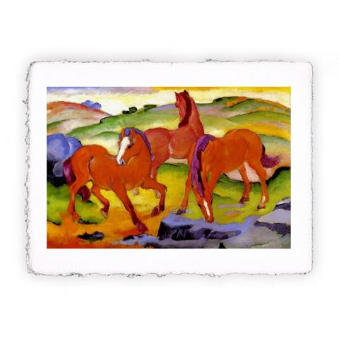 Pitteikon Stampa fine art in carta a mano. Franz Marc. Cavalli al pascolo IV o I cavalli rossi. 1911