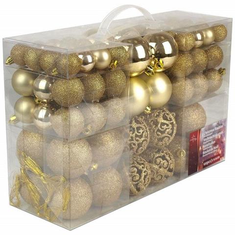 LGVShopping Palle Di Natale 100 Palline Color Oro Diverse Misure Decorazioni Albero Natale