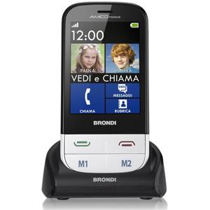 """Brondi Cellulare  Amico Premium 2.8"""" Funzione Vedi E Chiama Tasto Sos Bianco"""