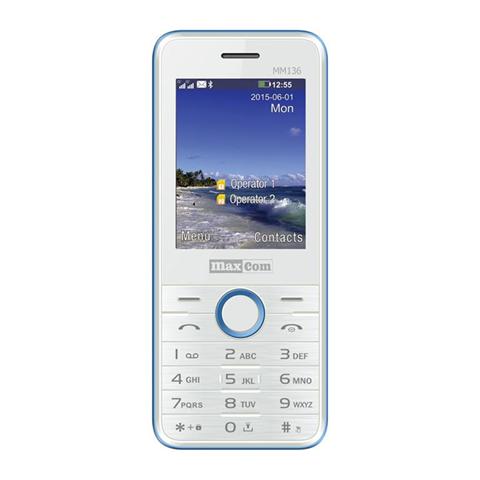 "MaxCom Classic MM136 2.4"" 54g Blu, Bianco Telefono di livello base"