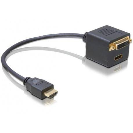DeLOCK Adapter HDMI male to HDMI + DVI25 female HDMI HDMI; DVI25 Nero cavo di interfaccia e adattatore