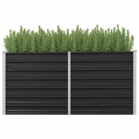 vidaxl letto rialzato giardino antracite 160x40x77 cm acciaio zincato
