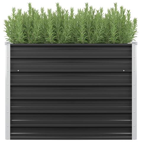 vidaxl fioriera per giardino antracite 100x40x77 cm in acciaio zincato