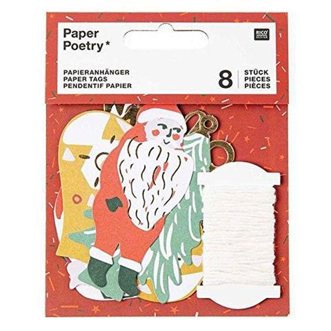 Rico Design 8 Etichette Regalo di Natale - Natale nostalgico