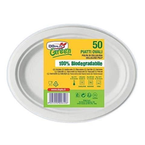 Dopla 50 Piatti Ovali Bio Piatti Biodegradabili usa e getta Piatti biodegradabili Compostabili Ovali 26 cm 50 pz