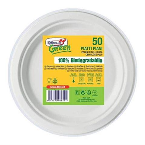 Dopla 50 Piatti Piani Bio Piatti Biodegradabili usa e getta Piatti Piani biodegradabili 22,5 cm 50 pz