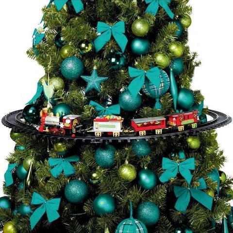 ND Trenino Natalizio con Supporto per Centro Albero Treno Elettrico con Luci Natale