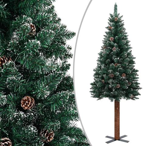 vidaXL Albero di Natale Sottile Legno Vero Verde con Neve Bianca 210cm