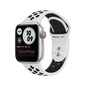 Apple Watch Nike Series 6 GPS + Cellular, 40mm in alluminio argento con cinturino Sport Nike Platino/Nero