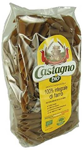 Castagno Pasta 100% integrale di farro triticum dicoccum italiano. Penne da 500 g