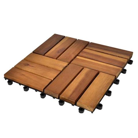 vidaXL Set 10 Piastrelle in legno di acacia per pavimento 30 x 30 cm