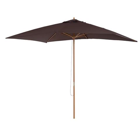outsunny ombrelloni da giardino arredamento esterni ombrellone da terrazza esterno in legno, marrone, 2x3m