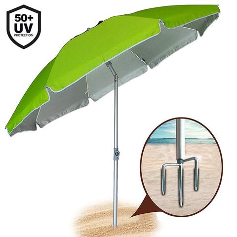 bakaji ombrellone 210cm in alluminio con punta tridente e pesi