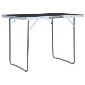 vidaxl tavolo da campeggio pieghevole in alluminio grigio 120x60 cm