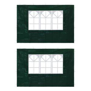vidaxl parete per tendostruttura 2 pz con finestra verde