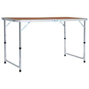 vidaxl tavolo da campeggio pieghevole in alluminio 120x60 cm