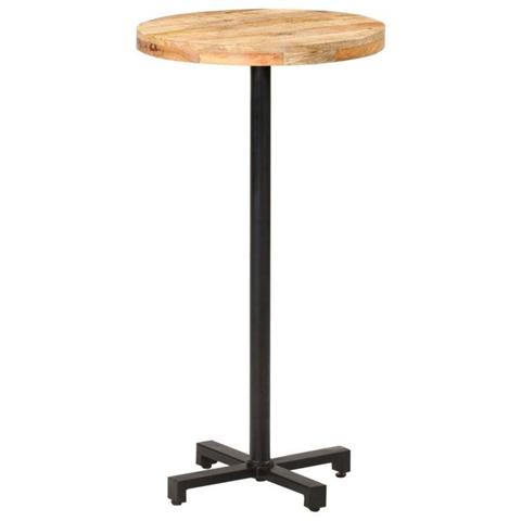 vidaXL Tavolino da Bar Rotondo 60x110 cm in Legno di Mango Grezzo