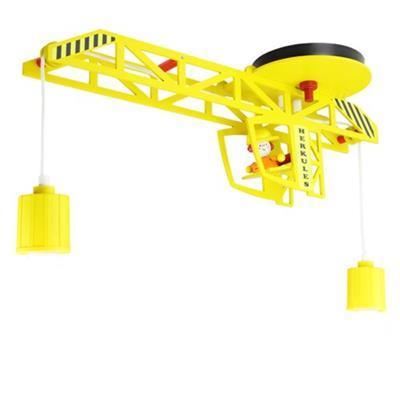 Elobra 128282 - Lampadario per camera dei bambini, forma a gru, in legno, colore: giallo